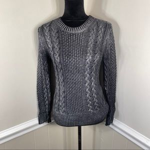 Michael Kors Silver Dusted Cable Knit Sweater S